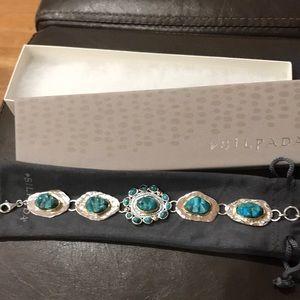 Silpada Sterling Brass Compress Turquoise Bracelet